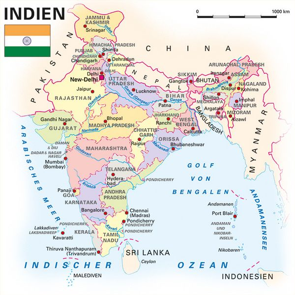 Physische Karte Indien.Allgemeine Landesinformationen Kooperation International