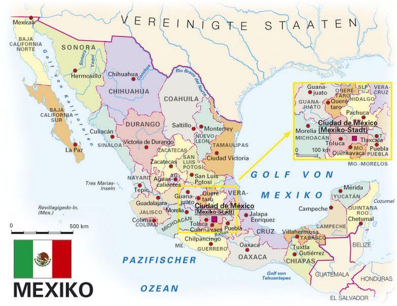 Mexiko Staaten Karte.Allgemeine Landesinformationen Kooperation International