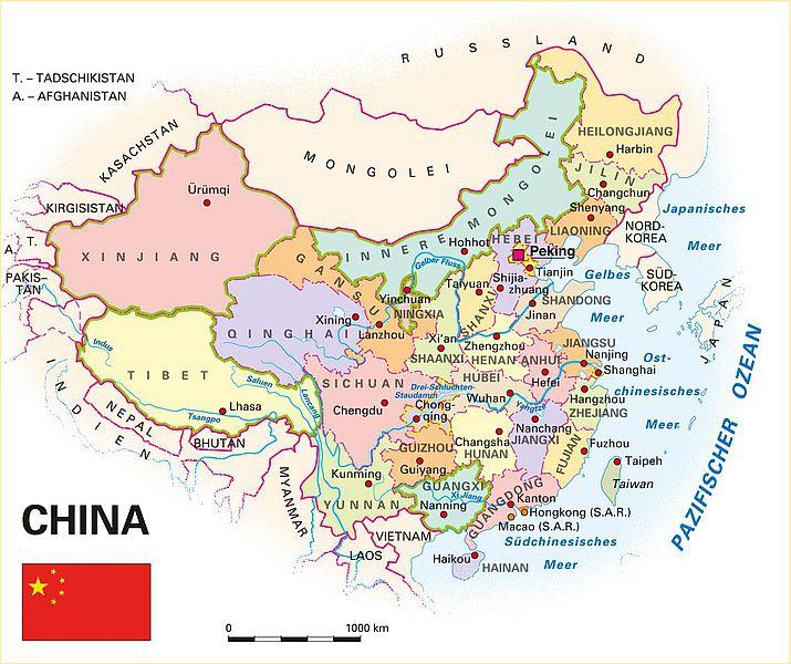 China Karte Physisch.Nordchina Karte Creactie