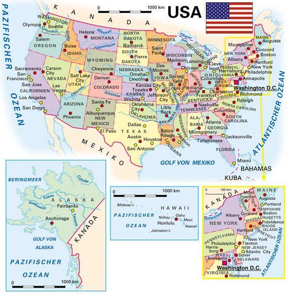 Usa Staaten Karte Mit Hauptstädten.Allgemeine Landesinformationen Kooperation International