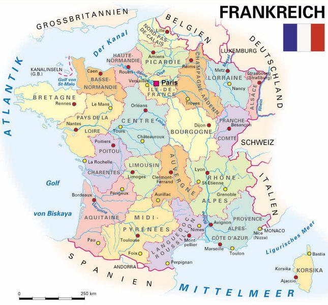 Frankreich Departements Karte.Allgemeine Landesinformationen Kooperation International