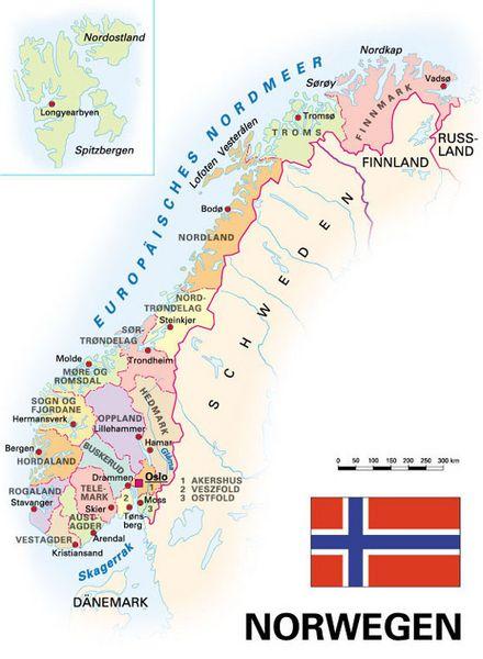 Karte Norwegen.Allgemeine Landesinformationen Kooperation International